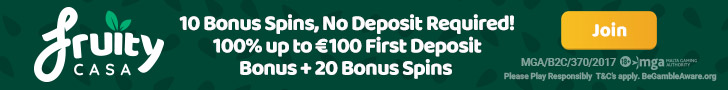 FruityCasa – 10 Free Spins on Gonzo's Quest no deposit + 150% Welcome Bonus